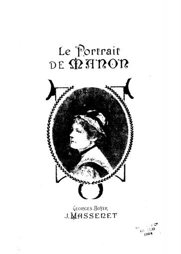 """Marseille, Opéra Municipal: """"Le portrait de Manon"""""""