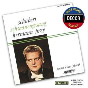 """Herman Prey. F. Schubert: """"Schwanengesang"""" – Hugo Wolf: """"Mörike Lieder"""", Hans Pfitzner: """"Eichendorff Lieder"""""""