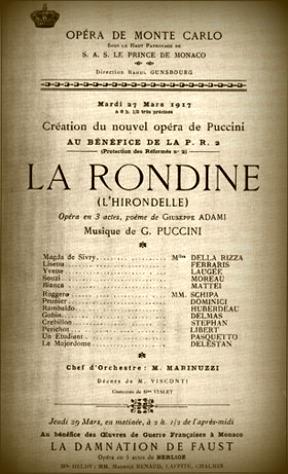 """""""La rondine"""" di Puccini: a 100 anni dalla prima"""