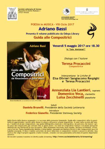 """Verona: Presentazione libro """"Guida alla Compostrici"""" di Adriano Bassi e concerto Trio Boldini in Società Letteraria"""