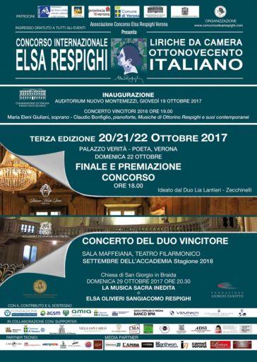 """Verona: Terza edizione del Concorso Internazionale di musica vocale da camera """"Elsa Respighi"""""""