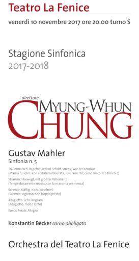 Venezia, Teatro La Fenice: Myung-Whun Chung trionfa con la Quinta di Mahler