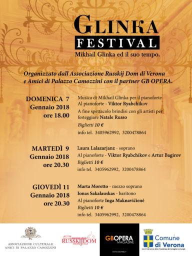 Verona, Festival Glinka, dal 7 all'11 gennaio 2018