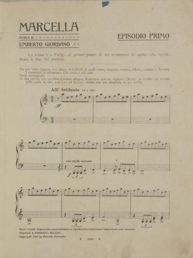 "Umberto Giordano 150 (1867 – 1948): ""Marcella"" (1907)"