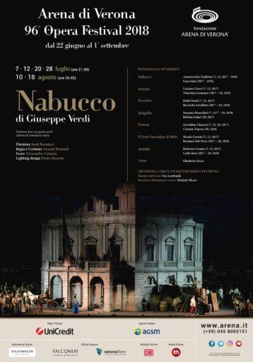 """""""Nabucco"""" il quarto debutto del 96° Arena di Verona Opera Festival 2018 – in scena dal 7 luglio al 18 agosto"""