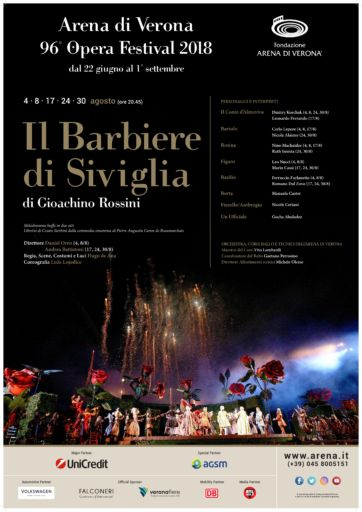 """""""Il barbiere di Siviglia"""" debutta al 96° Arena di Verona Opera Festival 2018"""