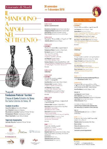 Il mandolino a Napoli nel Settecento. 30 novembre-1 dicembre 2018. Napoli, Fondazione Pietà de' Turchini