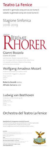 Venezia, Teatro La Fenice: concerto diretto da Jėrėmie Rhorer con Roberto Baraldi e Alfredo Zamarra